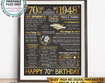 "70th Birthday Gift, Born in 1948 Birthday Flashback 70 Years Ago Back in 1948 Gold, PRINTABLE 8x10/16x20"" Chalkboard Style B-day Sign <ID>"
