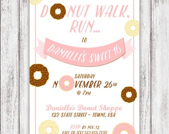Donut Party Invites - (PRINTED or DIGITAL FILE)