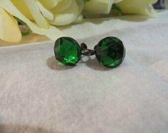 Radiant Vintage Emerald Green Crystal Screw Back Earrings