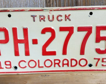 Vintage Colorado 1975 License Plate, Old License Plate, Vintage License Plate, License Plate, License Plates, CO License Plate Red and Ivory