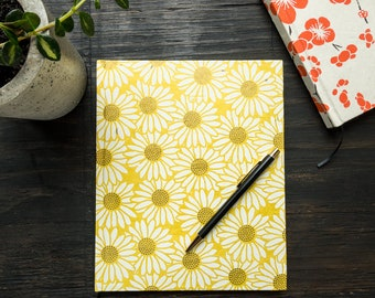 Large Handcrafted Hardcover Notebook, Yellow Lokta Paper Cover, White Flower Design, Unlined Recycled Paper, Eco Friendly, Ribbon Bookmark
