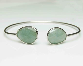 925 Sterling Silver Aquamarine Bangle Bracelet Gemstone Bangle Bracelet