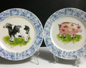 Set of 2) Tabletops Unlimited Stoneware COUNTRY BARN 10 1/2\  Dinner Plates & Tabletop pig | Etsy