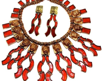 Chanel Lion Head Red Glass Fringe Collar Necklace with Long Earrings Set 60s Rare Couture