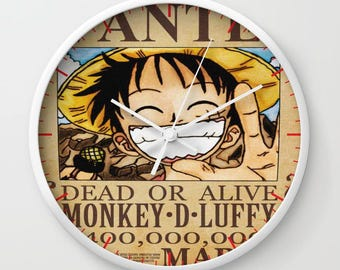 One piece Inspired Wall Clock, Luffy Inspired Wall Clock, TV, Geek Illustration, Manga Clocks, Teens Gift, Kids Art Decor, Anime
