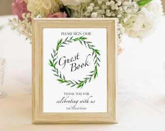 Guest book wedding printable sign, laurel wreath guest book sign, greenery wedding guest book sign, digital guest book sign