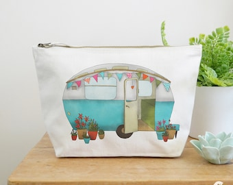 Caravan Canvas Wash Bag, Large Zipper Pouch, Makeup Bag, Toiletry Bag, Accessory Bag, Caravan Gift