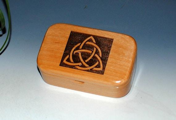 Triquetra Wood Box - Alder Handmade Wooden Trinket Box by BurlWoodBox - Desk or Gift Box, Business Card Box -Trinity Knot, Celtic Triangle
