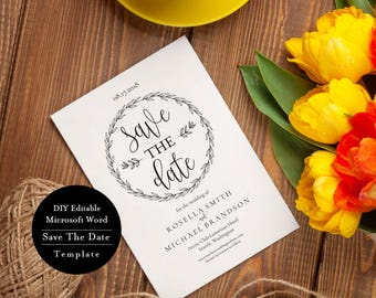 Printable Save the Date Card, Save the Date Template, INSTANT DOWNLOAD, Editable Text, 5x7, Modern Calligraphy, MSW205