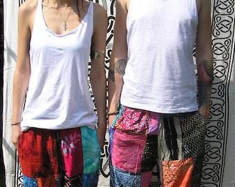 Unisex Patchwork Trousers Adult Teen Funky Festival Hippy Boho Batik - 8 10 12 14 16