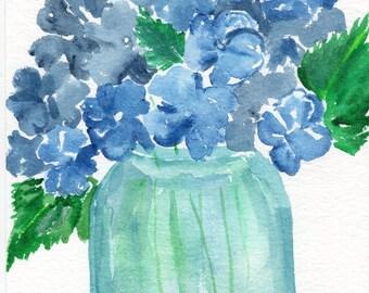 Original Hydrangeas Watercolors Paintings  watercolor of blue hydrangeas in Aqua Mason jar, Hydrangea Artwork, floral art, canning jar