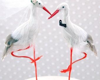 Héron personnalisé gâteaux de mariage: Mariée et le marié aiment oiseau de gâteau - cigogne / Heron / aigrette