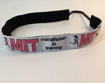Marathoner in Training Headband- Runner Headband- Run- MIT- White- Marathon- MRTT- 7/8 headband- Sport Headband- nonslip- no slip headband