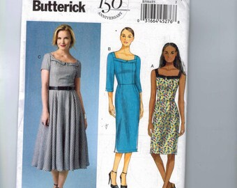 Misses Sewing Pattern Butterick B5984 5984 Misses Retro Rockabilly Dress Full Slim Skirt Sundress Size 8 10 12 14 16 or 16 18 20 22 24 UNCUT