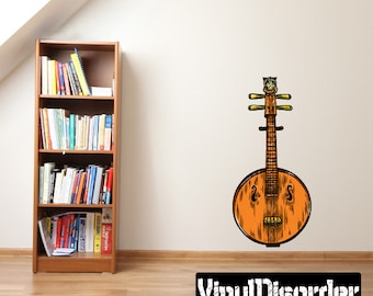 Chinese Instrument Scroll Wall Decal - Wall Fabric - Vinyl Decal - Removable and Reusable - ChineseInstrumentUScolor001ET