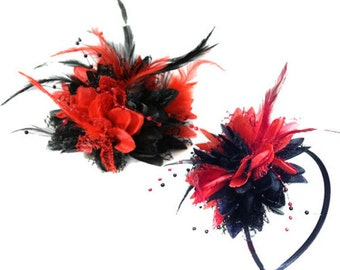 Black and Red Fascinator Black Headband Clip Comb Flower Corsage