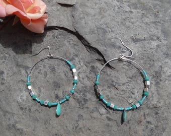 Turquoise big Suzie hoops & cubes