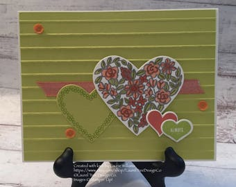 Valentine Card, Handmade Valentine Card, Fancy Valentine Card, Hand-Colored Card, You Pick Your Color, Stampin' Up! Designs