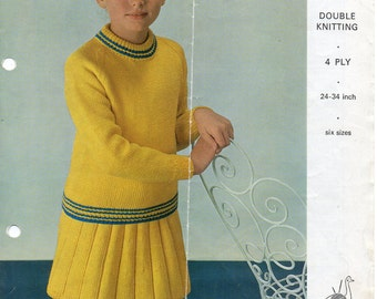 Girls sweater skirt knitting pattern pdf jumper and skirt suit set - 24 to34 inch- DK or 4 Ply - knitting pattern - pdf instant download
