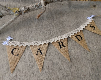 Cards Bunting Burlap Cards Banner  French Wedding Sign Burlap Wedding Cards Sign Shower Cards Banner Lace Cards Banner Card Box Banner