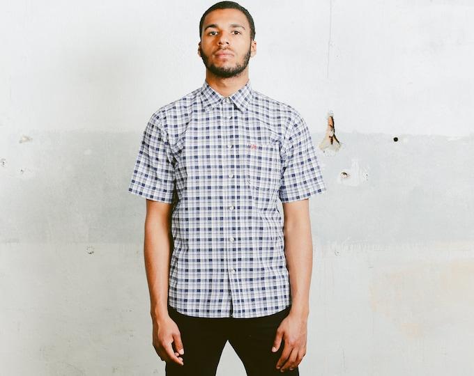 Fjallraven Plaid Shirt . Vintage Mens Casual 90s Summer Shirt 1990s Blue Unisex Shirt Casual Cotton Shirt Boyfriend Gift . size Large L