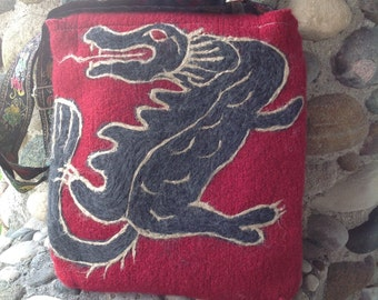 Charcoal Dragon on Red Asian Inspired Felted Wool Messenger Cross Body Bag
