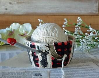 Yarn Bowl - Deer knitting bowl - Handmade Pottery - Large Yarn Bowl - Wool Bowl - Knit - Crochet - Unique Gift - Ready to Ship