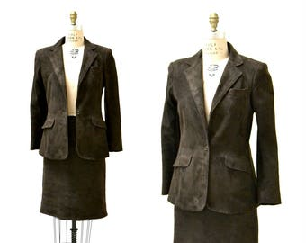 90s Vintage Leather Suede Suit Brown Suede Leather Skirt and Jacket Blazer Size Medium