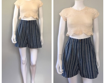 Vintage stripe shorts lurax thread shorts cotton shorts high wasit