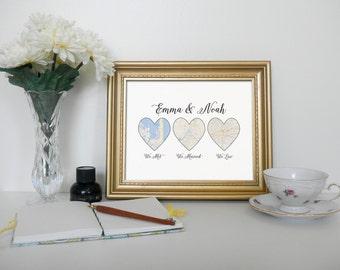 Custom Map Printable - We Met, We Married, We Live - Special Occassion Gift - Wedding Anniversary Present - Custom Printable