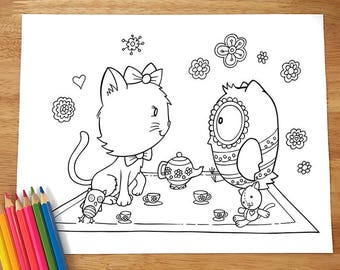 Cat and Owl Tea Party Coloring Page! Downloadable PDF file!