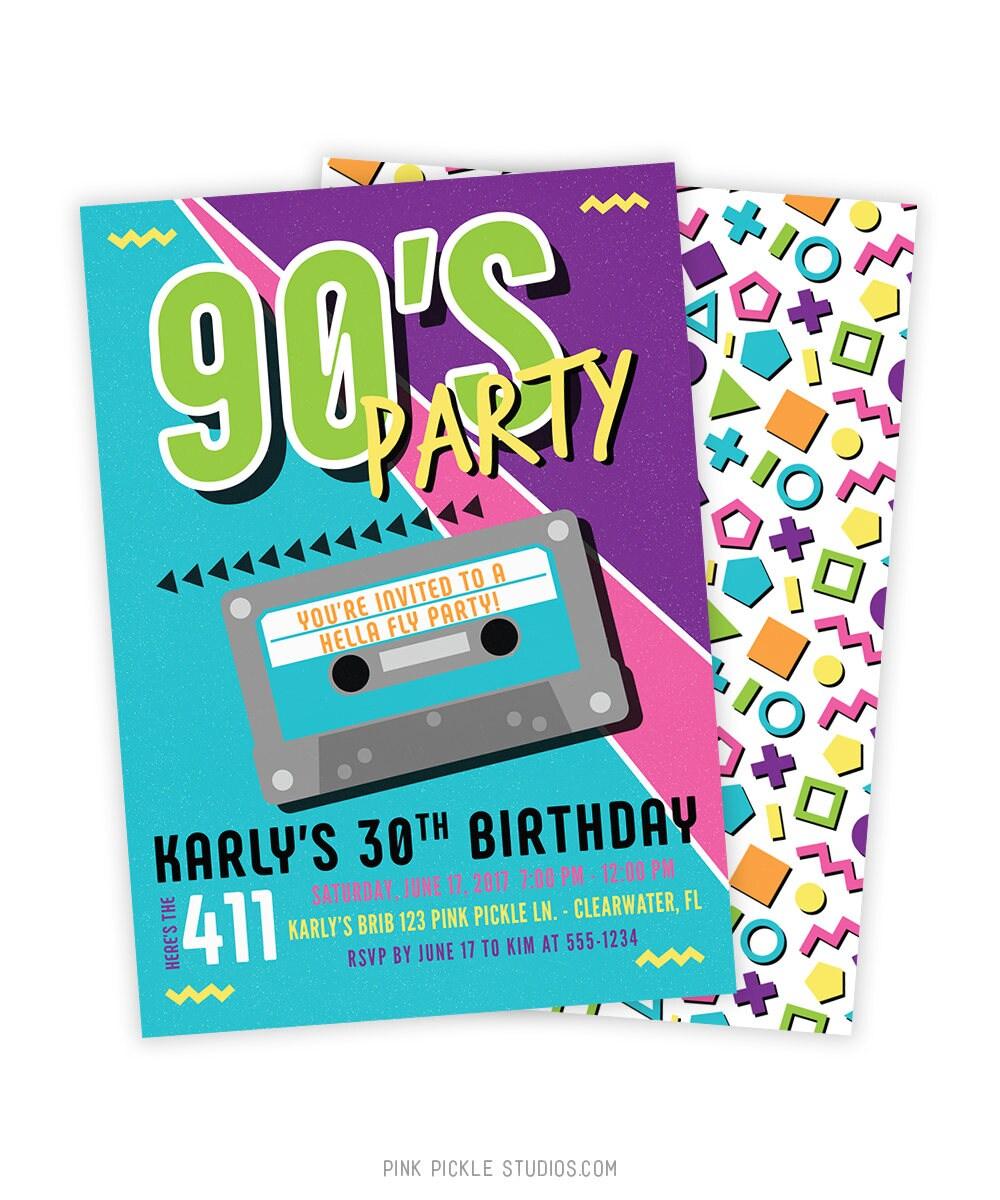 90s invitation 90s invite 90s birthday 90s birthday party. Black Bedroom Furniture Sets. Home Design Ideas