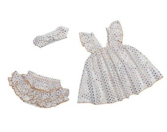 Free shipping to US and PR,white clothing set,white bloomer,gold dots outfit,white top,baby clothing,white outfit