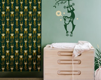 Monkey Wall Decal for Nursery - Jungle Animal - Large Wall Stickers for Kids Room (free shipping)