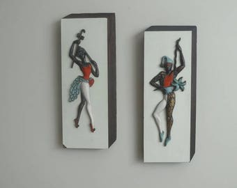 Vintage 1960s Turner Wall Accessory Harlequin Jester Dancers, Hand Colored, Mid Century Wall Art, Vintage Home Decorating, 1960s Home Decor