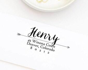 Custom Address Stamp, Return Address Stamp, Self-Inking Stamp, Wedding Stamp, Personalized Address Stamp, Arrow Address Stamp Style No. 41