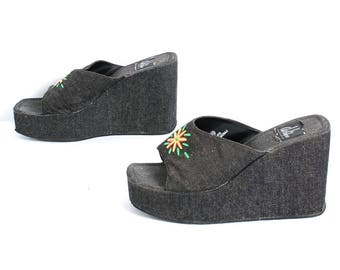 size 10 PLATFORM denim fabric 80s 90s CHUNKY WEDGE floral slip on sandals