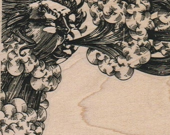 Blowing wind corner Rubber  Stamp clouds face    cling stamp, unmounted or wood mounted stamp 6726