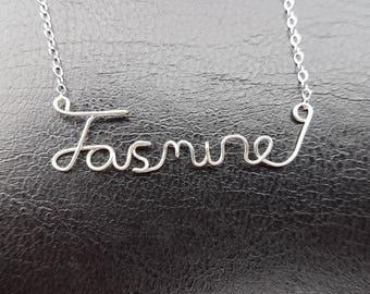 "Sterling Silver Name Necklace ""Jasmine"" Personalised Necklace Custom Name Necklace Word Sterling Silver Word Necklace Wire Name Necklace"