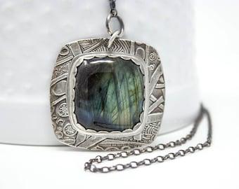Labradorite Fine Silver Necklace - GD309