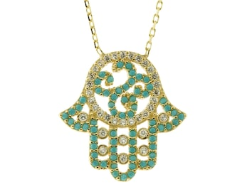 Gold Hamsa Turquoise Cubic Zirconia Necklace