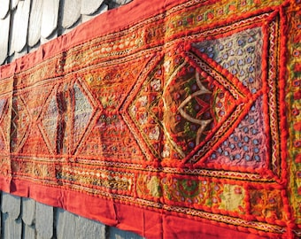 Indian tapestry boho wall decor bohemian home decor use as runner or wall hanging handmade patchwork wall decor colorful hippie home decor