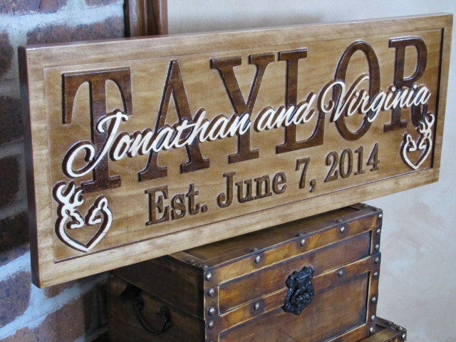 Wedding Gift Signs: Wedding Gift Personalized Family Name Signs Custom CARVED