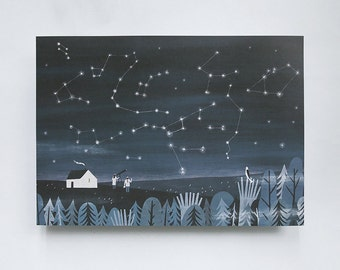 a4 / a3 print. magic time // night landscape illustration. print for bedroom. print for home. print for kids room. print for studio