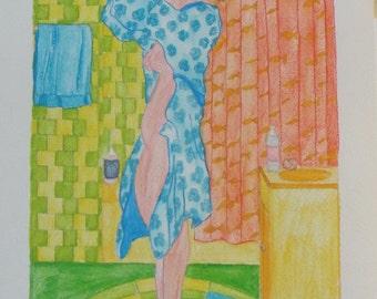 """female figure watercolor 9"""" x 12"""""""