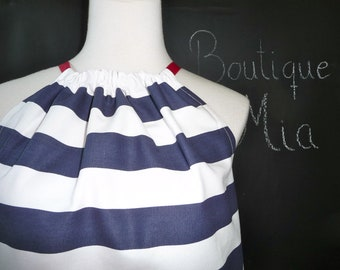 Pillowcase DRESS or TOP - Nautical Stripes - Made in ANY Size - Boutique Mia