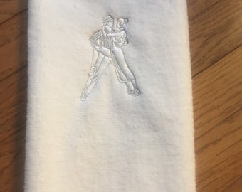Ballroom Dancer Hand Towel Embroidered Tango Dancers  Dance Towel Custom Made to Order Personalized Gift