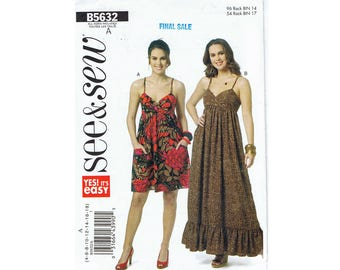 Butterick see & sew Misses Dresses - Women's Summer Smock Dress Sewing Pattern