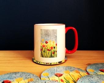 Tulip garden mug