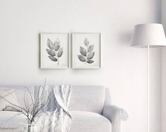 Black and white Botanical artwork, Home decor posters, Set of Botanical prints,16x20 Printable Living room wall posters, Gray Leaves Posters